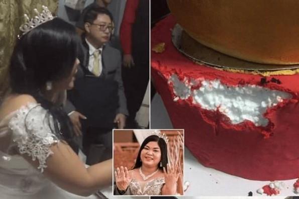 Novia vive pesadilla de una 'bridezilla' con su pastel de unicel #VIDEO