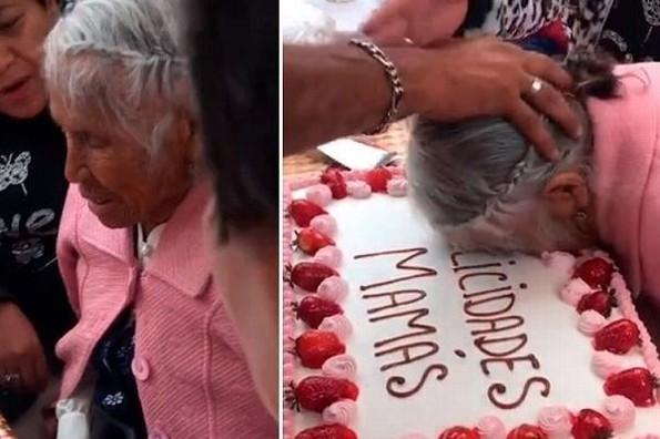 Celebran a una abuelita y le estampan la cara en el pastel (+video)